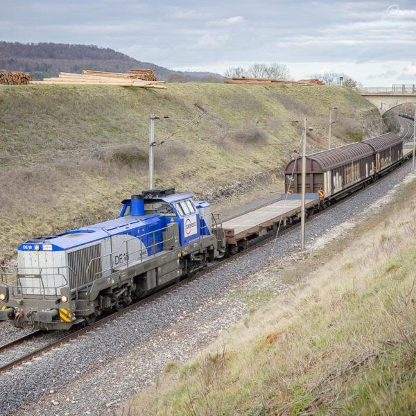 Train Obernai - Gironcourt. Eurporte DE18 4185007. Soulosse (88, France) Ligne 15 Dijon - Toul