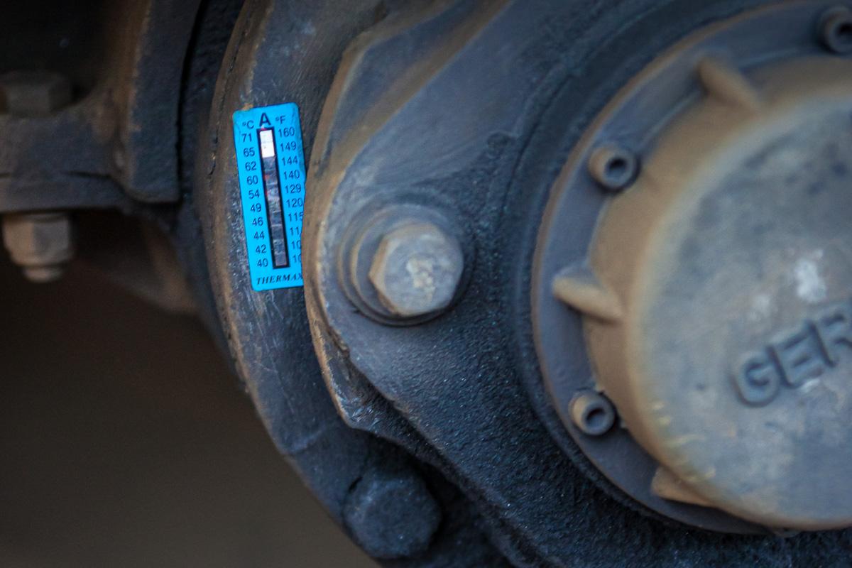 Sticker permettant d'enregistrer les températures atteintes sur un bogie de Z20500.