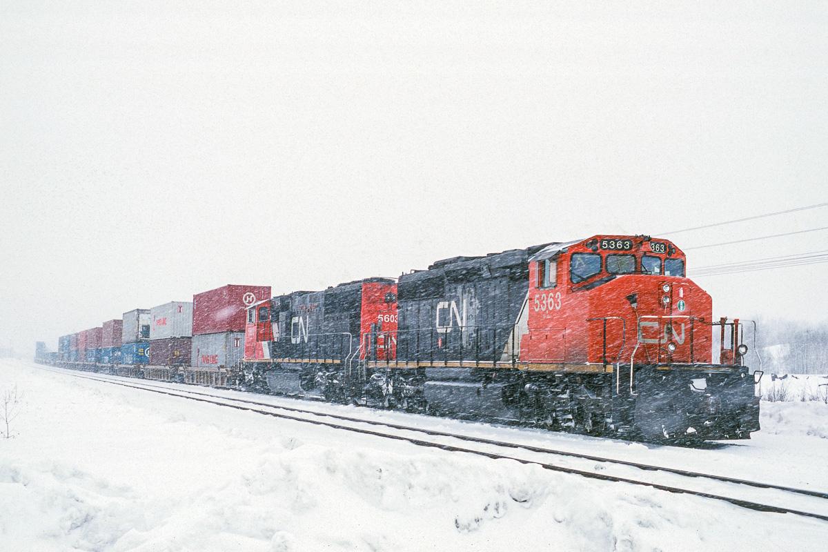 La tempête de neige est à son maximum lorsque le train 202 du Canadien National s'immobilise pour une relève de conducteurs.
