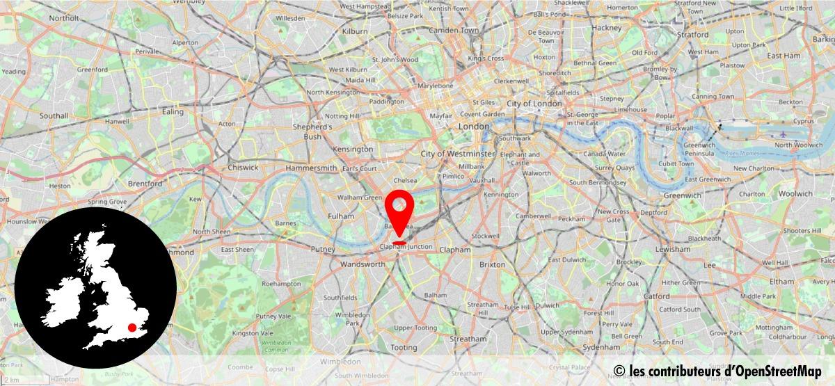 Carte de situation de la gare de Clapham Junction