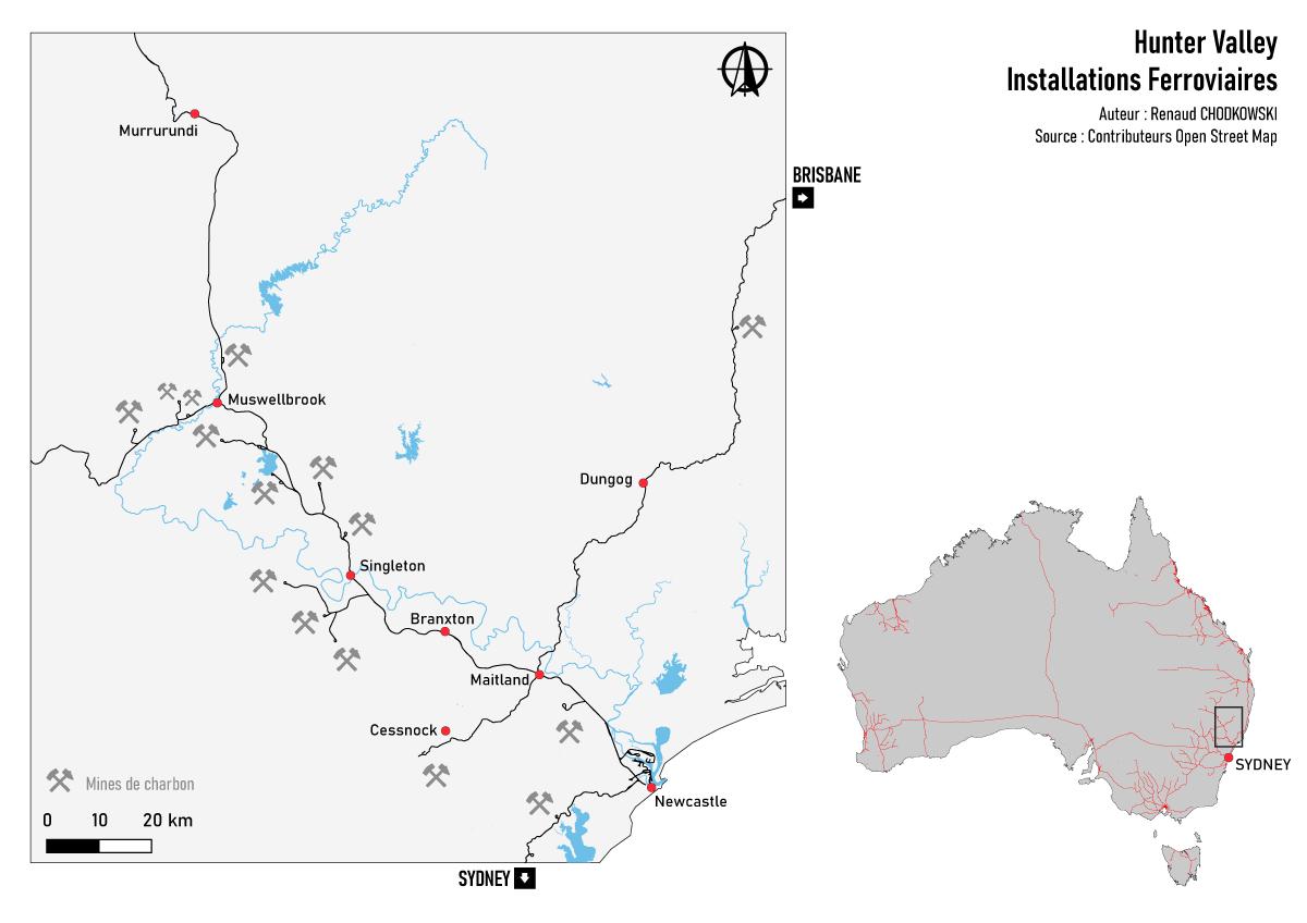 Vue d'ensemble des installations ferroviaires et minières de la Hunter Valley.