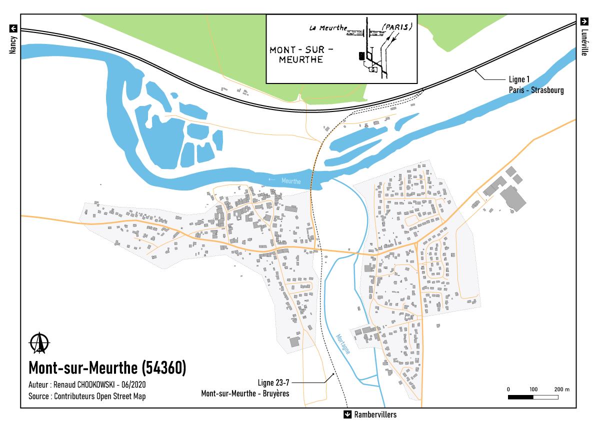 Carte de l'ancienne bifurcation de Mont-sur-Meurthe.